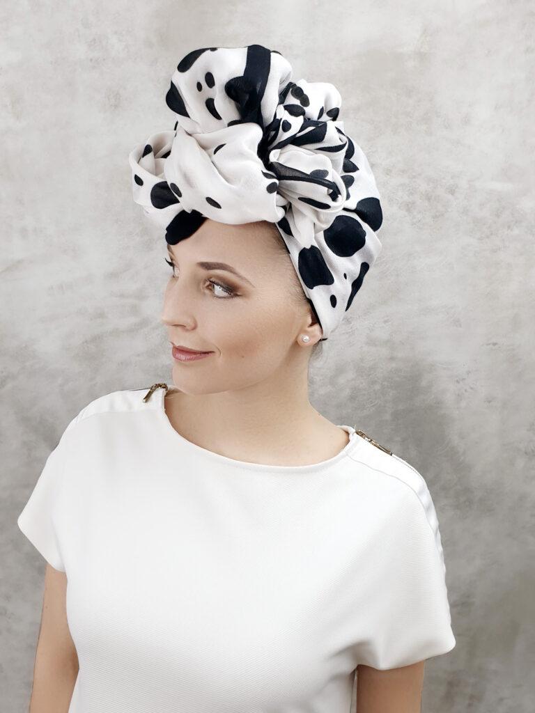 turban chusta apaszka biało czarny turban